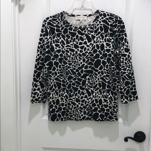 Jones New York animal print 3/4 sleeve tee shirt